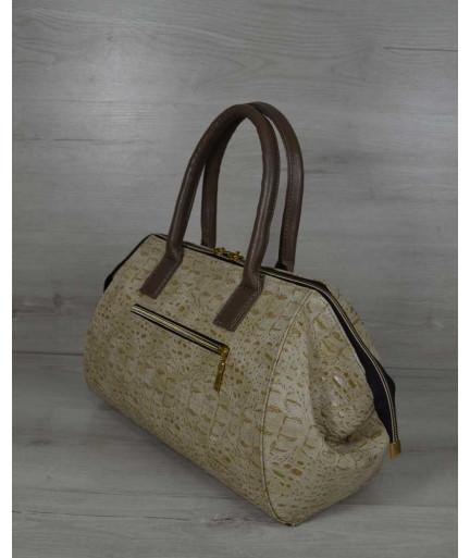Классическая женская сумка Оливия бежевый крокодил