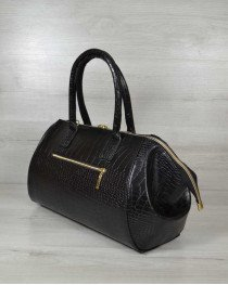 Классическая женская сумка Оливия черный крокодил