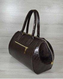Классическая женская сумка Оливия коричневый крокодил