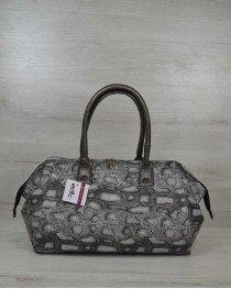 Классическая женская сумка Оливия серая змея