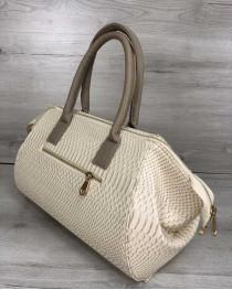 Классическая женская сумка Оливия бежевая рептилия