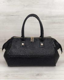 Классическая женская сумка Оливия черная рептилия