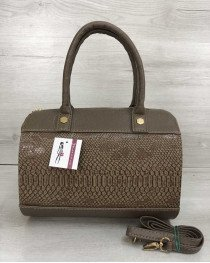 Женская сумка Маленький Саквояж кофейного цвета со вставкой кофейная рептилия