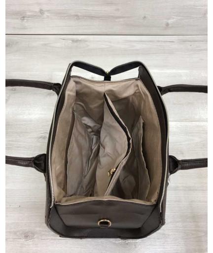 Женская сумка Маленький Саквояж коричневого цвета со вставкой коричневый крокодил