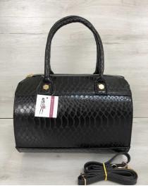 Женская сумка Маленький Саквояж черного цвета со вставкой черный крокодил