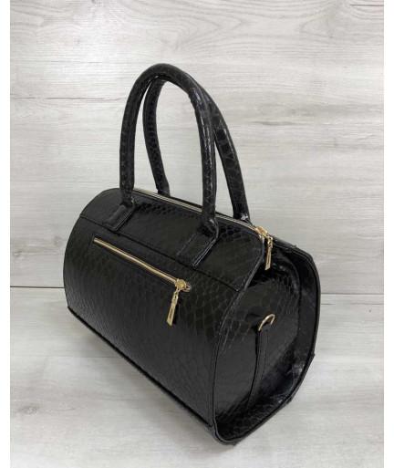 Женская сумка Маленький Саквояж черного цвета со вставкой черная кобра