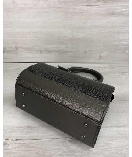 Женская сумка Маленький Саквояж цвета металлик со вставкой коричневый лаковый крокодил