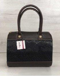 Женская сумка Маленький Саквояж коричневого цвета со вставкой коричневая рептилия