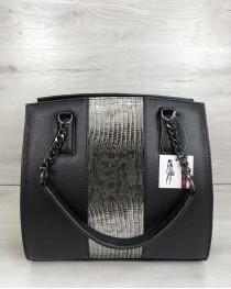 Каркасная женская сумка Адела черного цвета со вставкой серый лак