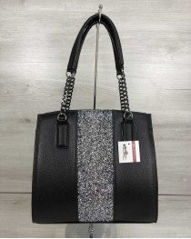 Каркасная женская сумка Адела черного цвета со вставкой блеск