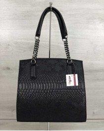Каркасная женская сумка Адела черного цвета со вставкой черная рептилия
