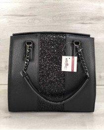Каркасная женская сумка Адела черного цвета со вставкой черный блеск
