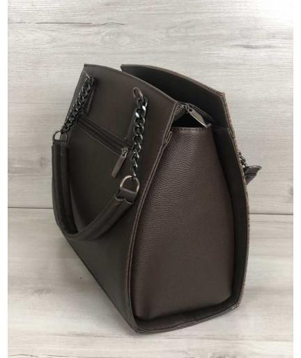 Каркасная женская сумка Адела коричневого цвета со кофейная рептилия