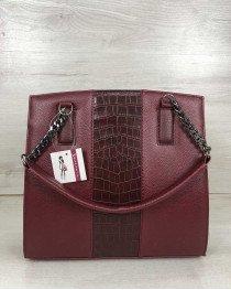 Каркасная женская сумка Адела бордового цвета со вставкой бордовый крокодил