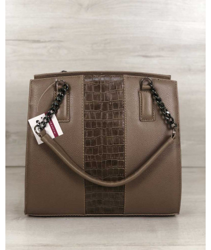 Каркасная женская сумка Адела кофейного цвета со вставкой кофейный крокодил