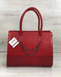 Каркасная женская сумка Селин с цепочкой красного цвета