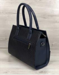 Каркасная женская сумка Селин с цепочкой синего цвета