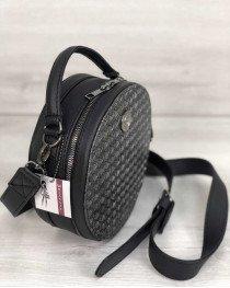 Стильная женская сумка Бриджит черного цвета со вставкой серебро
