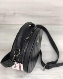 Стильная женская сумка Бриджит черного цвета со вставкой черный крокодил