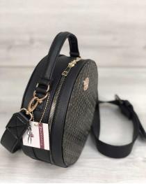 Стильная женская сумка Бриджит черного цвета со вставкой золото