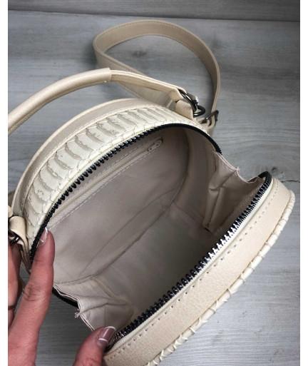 Стильная женская сумка Бриджит бежевая рептилия