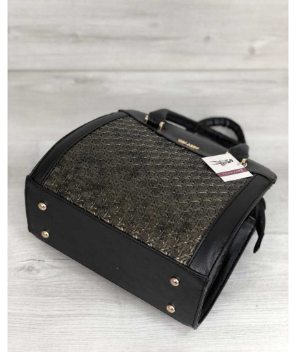 Каркасная женская сумка Эбби черного цвета со вставками золото