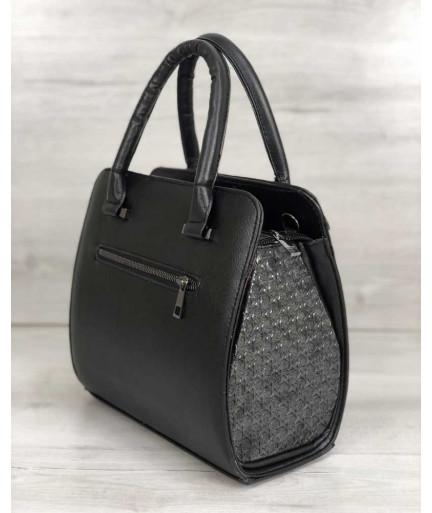 Каркасная женская сумка Эбби черного цвета со вставками серебро