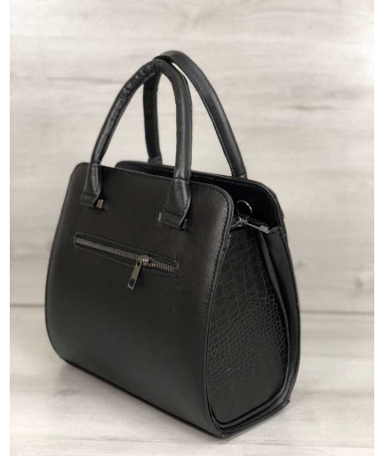Каркасная женская сумка Эбби черного цвета со вставками черный крокодил