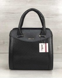 Каркасная женская сумка Эбби черного цвета со вставками черная лаковая клетка
