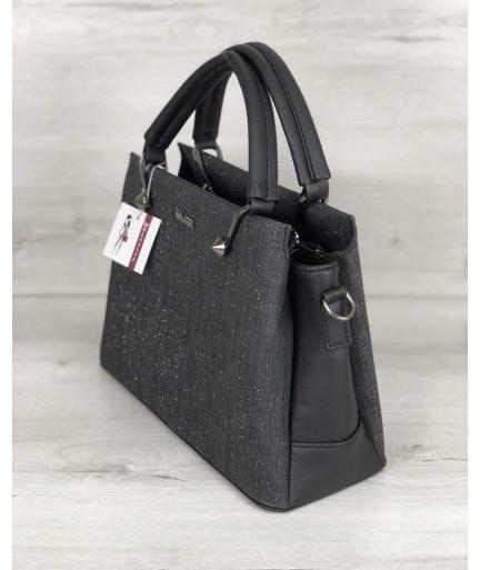 Стильная женская сумка Грана черный блеск