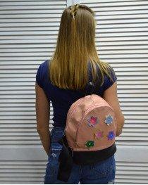 Молодежный рюкзак «Цветочки» пудрового цвета