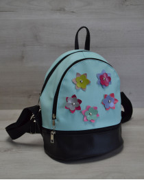 Молодежный женский рюкзак «Цветочки» голубой