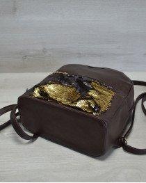 Молодежный женский рюкзак «Пайетки» золото-черный