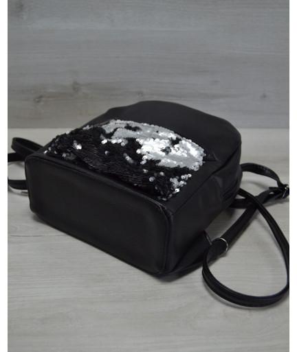 Молодежный рюкзак «Пайетки» серебро-черный