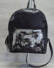 Женский рюкзак «Пайетки» серебро-черный