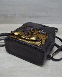 Молодежный рюкзак «Пайетки» черный с золотым