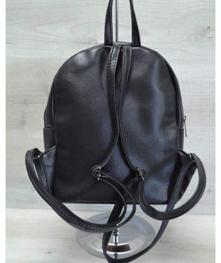 Женский молодежный рюкзак «Пайетки» пудра с серебром
