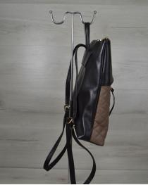 Женская сумка рюкзак черный с кофейными кубиками