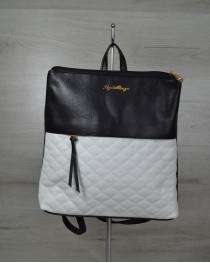 Женская сумка рюкзак черный с белыми кубиками