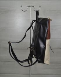 Молодежный рюкзак черного цвета с беживыми кубиками
