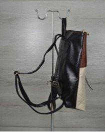 Женская сумка рюкзак черный с бежевыми кубиками