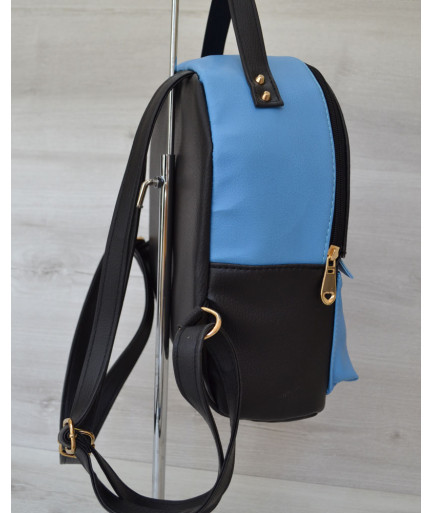 Рюкзак сверху шипы черныйc голубым