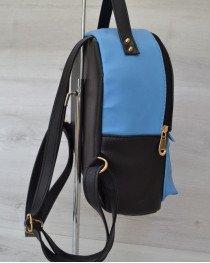 Рюкзак сверху шипы черный  c голубым