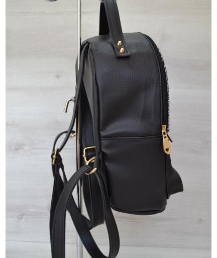 Рюкзак сверху шипы черный  c серебром