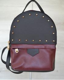 Рюкзак сверху шипы черный  c бордовым