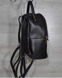 Рюкзак среднего размера черный с золотой вставкой