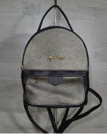 Рюкзак среднего размера черный с вставкой металлического цвета