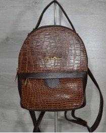 Рюкзак среднего размера коричневый с рыжей вставкой