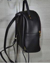 Рюкзак женский средний черный с бордовой вставкой
