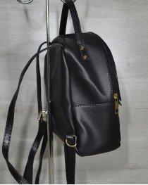 Средний черный рюкзак с вставкой черный крокодил